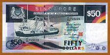Singapore, 50 dollars, ND (1987), P-22b, XF > Boat