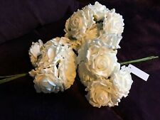 White Large Foam Roses Peonies X 3 Bunches