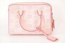 MCM pink coated canvas monogram visetos logo satchel handbag purse NEW $750