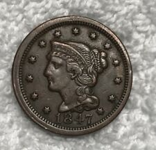 1847 Large Cent N-13 XF EF Extremely Fine