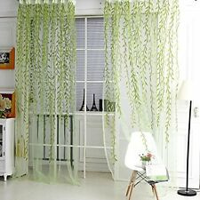 100*200cm Home Window Door Curtain Sheer Voile Panel Floral Drape Green