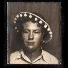 DINGLE-BALLS GLAZED & DAZED MEXICAN SOMBRERO MAN ~ 1930s PHOTOBOOTH PHOTO