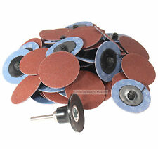 "50 Pc 120 Grit  2"" Roloc Type Roll On Lock Sanding Disc w/ Mandrel Made in USA"