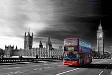 Red Bus Westminster Bridge Houses of Parliament Big Ben London Photograph Print
