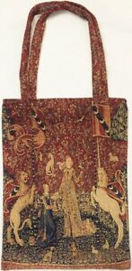 LADY & THE UNICORN TAPESTRY SHOPPING TOTE BAG BY ROLANDE DU DREUILH, 32CM X 43CM