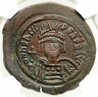 HERACLIUS Authentic Ancient 612AD Byzantine Follis Coin LARGE M CROSS NGC i84972