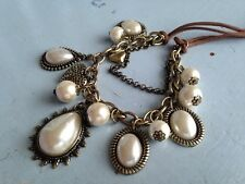 leather pearl bronze necklace vintage bohemian coachella festival jewelry