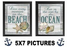 Nautical Pictures 5x7 Inspirational Starfish Sanddollar Sea Shells Hangings