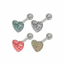 Tongue Jewelry Glitter Heart Tongue Ring Barbell 14g 5/8