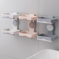 Rotating Soap Dish Box Holder Wall Hanging Draining Storage Tray Rack Bathroom