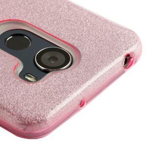 ALCATEL A30 PLUS / WALTERS / REVVL -Hard TPU Rubber Skin Case Pink Shiny Glitter