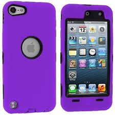 Hybrid Hard Silicone Case for iPod Touch 5th Gen - Black/Purple