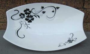 D'Lusso Home Collection Porcelain Black and White Floral Serving Dish