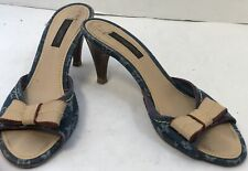 LOUIS VUITTON Vintage Blue Denim Bow Heels SZ 36/ 6