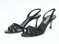 Manolo Blahnik Sandal Black Crisscross Satin Size 39 Svelti Slingback Heel