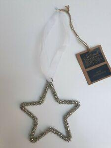 Festive Glass Beaded Hanging Star Decoration Silver Ribbon Christmas