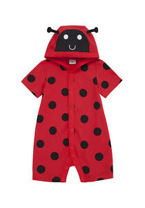 BNWT, Ladybird, Bug, Romper, Playsuit, All-in-One, Red, Black, Size 0, 9-12 Mths
