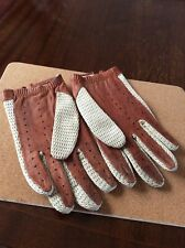 MENS VINTAGE SOFT LEATHER DRIVING GLOVES WITH CROCHET BACK