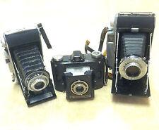 3 Vintage Folding Cameras - Agfa and Kodak