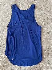 Lululemon Women's Tank Shirt Top Blue Size 8 Mesh Accent Reflective Logo