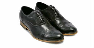 Mens Black Leather Toe Cap Brogue Lace Up Work Formal Shoes Size UK 6.5