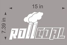 "Roll Coal Diesel / WHITE / 15"" Vinyl Vehicle RAM Truck Graphic Decal Sticker"