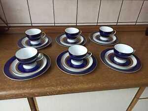 Thomas Porzellan Rotunda Kobaltblau Goldbordüre Kaffeeservice 6 Personen TOP!!!