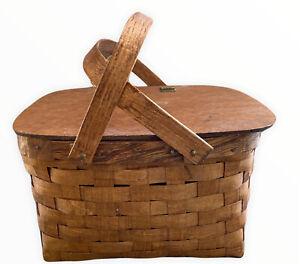 Vintage Rattan Wicker Picnic Basket Woven Wood Top Handles Table Insert