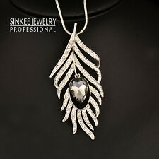 Gray Glass Hollow Feather Pendant Long Necklace Women Black//White Chain My421