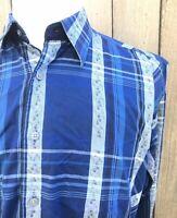 Robert Graham Blue Gray Check Men's 100% Cotton Shirt Size Large