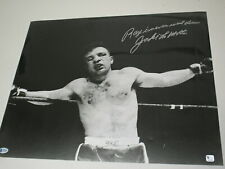 JAKE LAMOTTA Signed 16x20 Photo RAY NEVER WENT DOWN Inscription BECKETT BAS COA