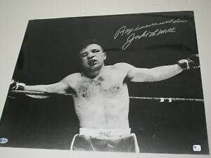 JAKE LAMOTTA Signed 16x20 Photo RAY NEVER WENT DOWN Inscription BECKETT BAS COA