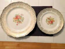 "TWO NASCO "" LADY MARIANNE "" FLORAL DESIGN WARRANTED 22 KT GOLD PLATES / PRISTINE"