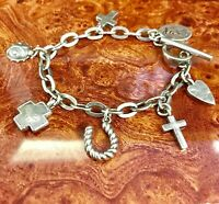 vintage sterling silver charm bracelet 7 charms toggle clasp 32.8 grams