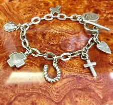 charms toggle clasp 32.8 grams vintage sterling silver charm bracelet 7
