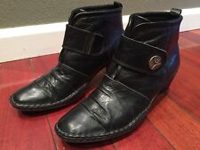 Joseph Seibel Black Leather Womens Ankle Boots Size 38(7.5)