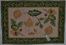 Tapestry Placemat~Oak Leaf~Acorn~Fall Maple~Green Florentine~Tan~Kitchen~NEW