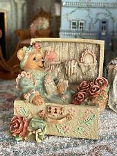 Vintage Artisan Miniature Dollhouse Resin Teddy Bear in Suitcase Feminine Decor