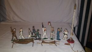 Barclay US Army Navy Lead Soldier Figures Set of 9 flag pole stretcher cot