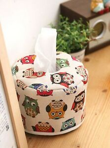 Round owl tissue box fabric cover / Home decor / Height 10