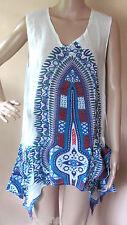 Aqua Blue Dashiki Print Uneven Hem Shirt Cover Up Top ONE SIZE NWT