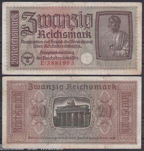 B-D-M Alemania Germany Nazi 20 Reichmark 1940-1945 Pick R139 BC/MBC