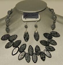 Black & Grey Matrix Jasper Spears w/Crackle Glass Beads  Necklace Set Clearance
