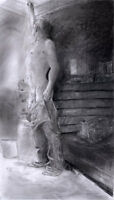 Painting, NUDE male LARGE Farm Get the Light 1/42/50 Esteban Pencil Realism