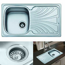 More details for square stainless steel 1.0 single bowl kitchen sink reversible + free waste kit.