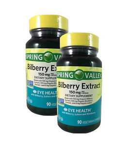 2 Pack Spring Valley Bilberry Extract 150mg - 90 Vegetarian Capsules Each