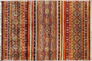 Afghan Khorjin Shaal Carpet Hand Knotted 180x250 Blue Stripes Wool short-Pile