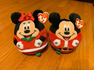 "NWT Beanie Ballz TY 5"" Mickey Minnie Mouse Disney Gift Christmas Holiday Toys 3+"