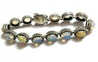 Fire Opal White C Z Natural Gemstone Handmade 925 Sterling Silver Bracelet 7-8""