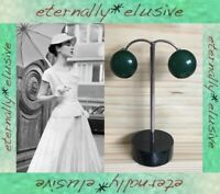 Original 1950s 60s Vintage Small Green Glass Button Clip On Earrings Ladie Women
